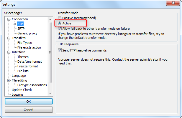 FileZilla FTP Settings Dialog