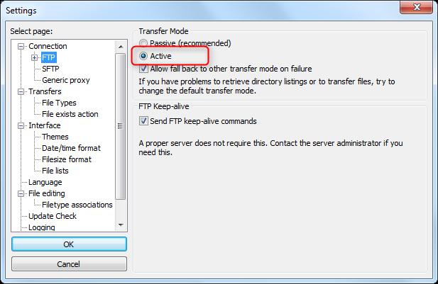 FileZilla FTP Settings Dialog